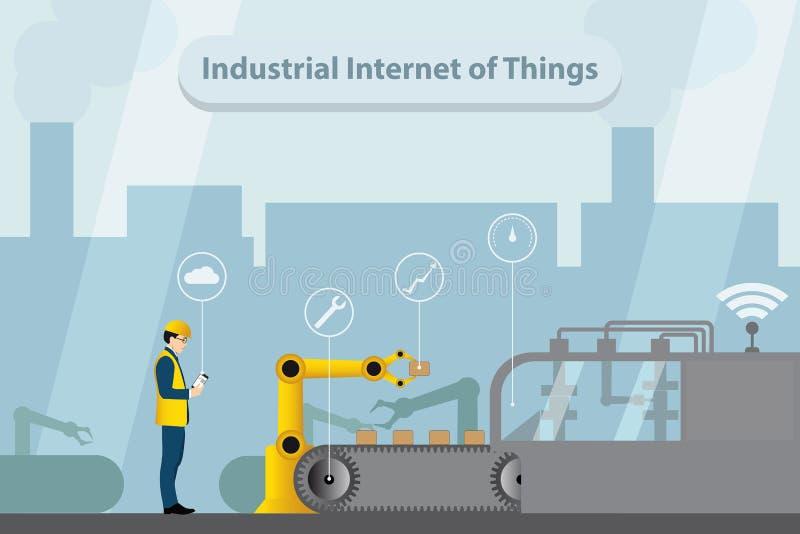 Industrial internet of things. Vector illustration. Industrial internet of things. Modern digital factory 4.0 . Vector illustration EPS 10 stock illustration