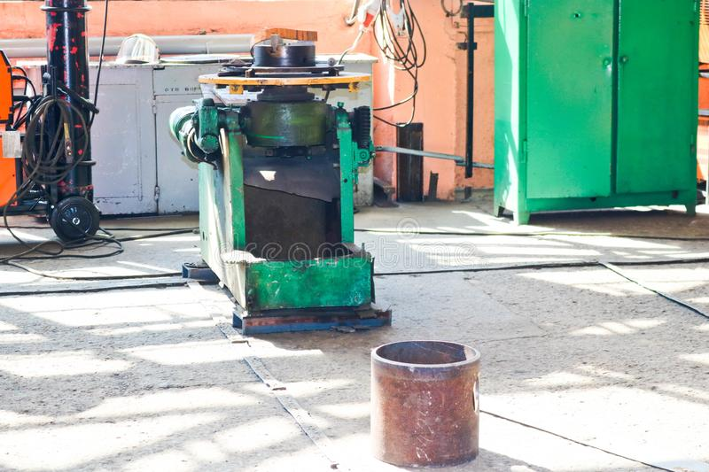 Industrial iron lathe for cutting, turning of billets from metals, wood and other materials, turning, manufacturing of details stock image