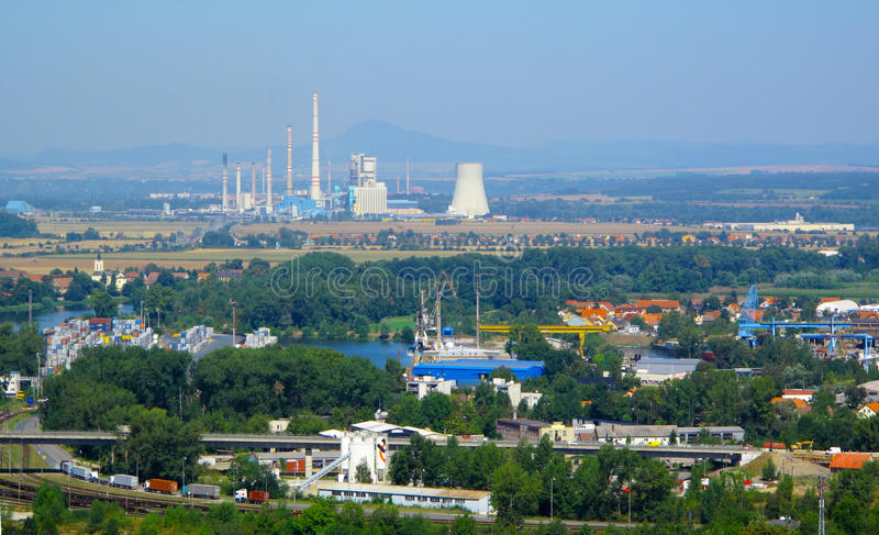 Industrial landscape. In Central Europe. Chimneys of chemical plant Spolana Neratovice, EU stock photos