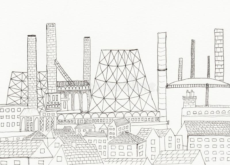 industrial landscape coloring page hand drawn illustration black white you to color