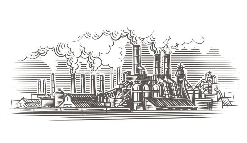 Industrial landscape engraving style illustration. stock illustration