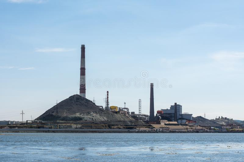 Industrial landscape in Karabash, Chelyabinsk region, Russia. In the afternoon royalty free stock image
