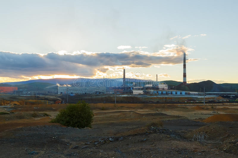 Industrial landscape in Karabash, Chelyabinsk region, Russia stock photography