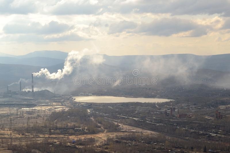 Industrial landscape. Karabash, zone of ecological disaster. Russia. Cityscape, dramatic, sky, lifestyle stock image
