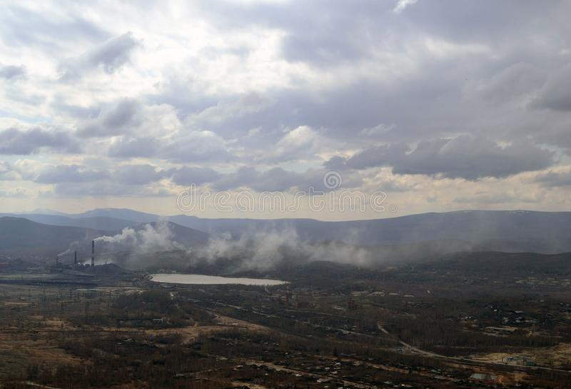 Industrial landscape. Karabash, zone of ecological disaster. Russia. Town, city, cityscape, lifestyle, horizon, view, outdoor royalty free stock images