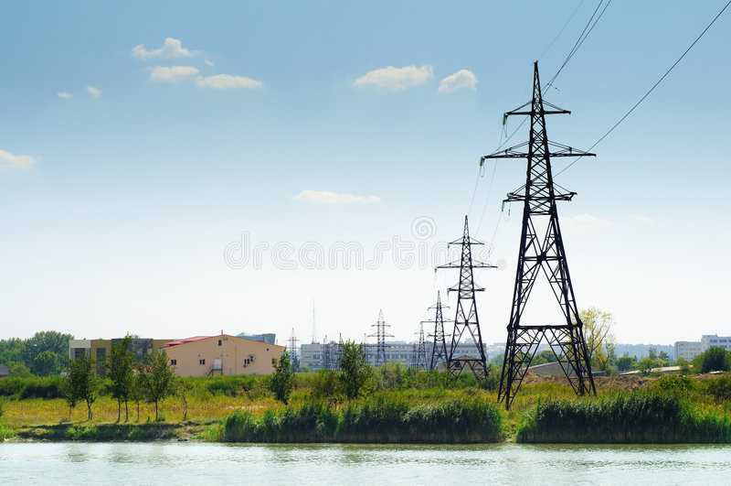 Industrial landscape, power lines stock images