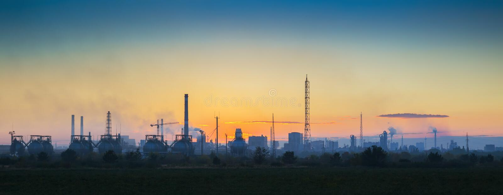 Industrial landscape at sunset royalty free stock photos
