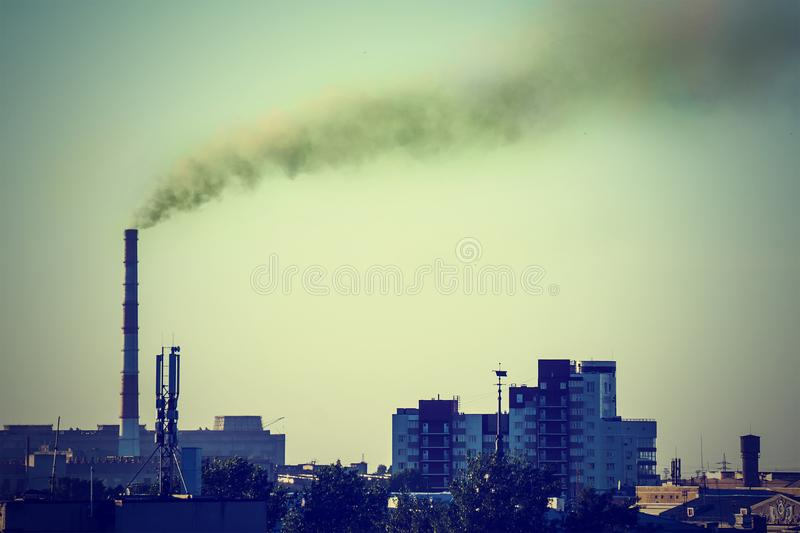 Industrial landscape with a thermal power royalty free stock photo