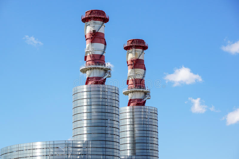 Industrial landscape. Thermal power plant with chimneys. royalty free stock images