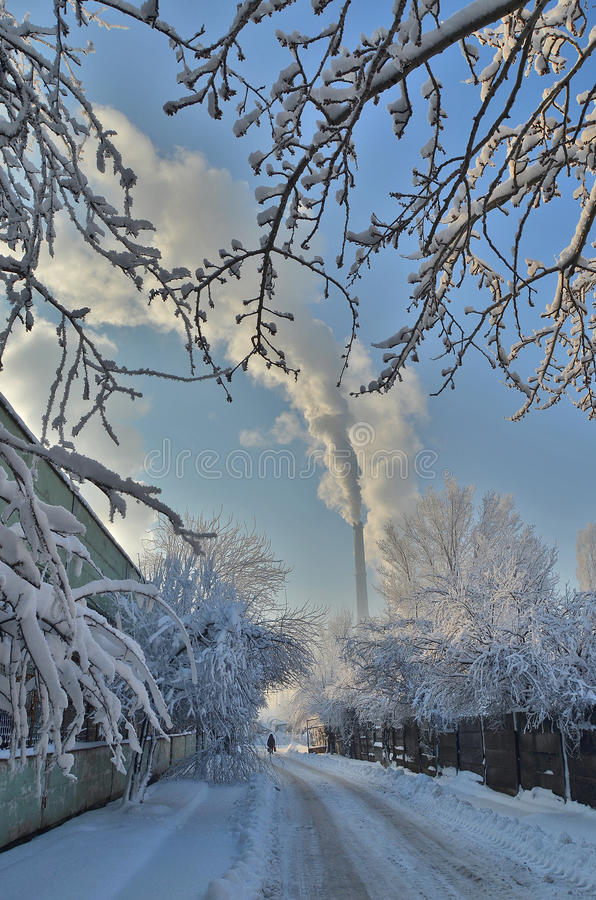 Industrial landscape in winter stock images