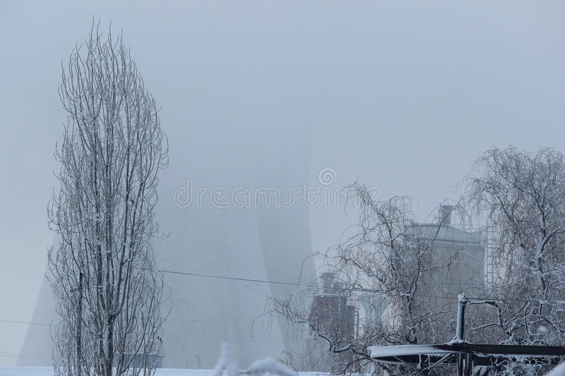 Industrial landscape in winter royalty free stock images