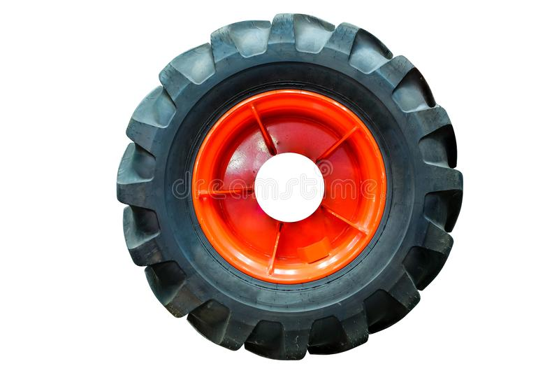 Industrial large tractor tires for farming stock photography