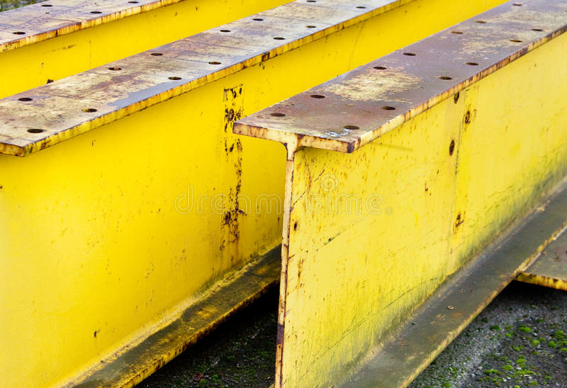 Industrial Large Yellow Beams stock photo