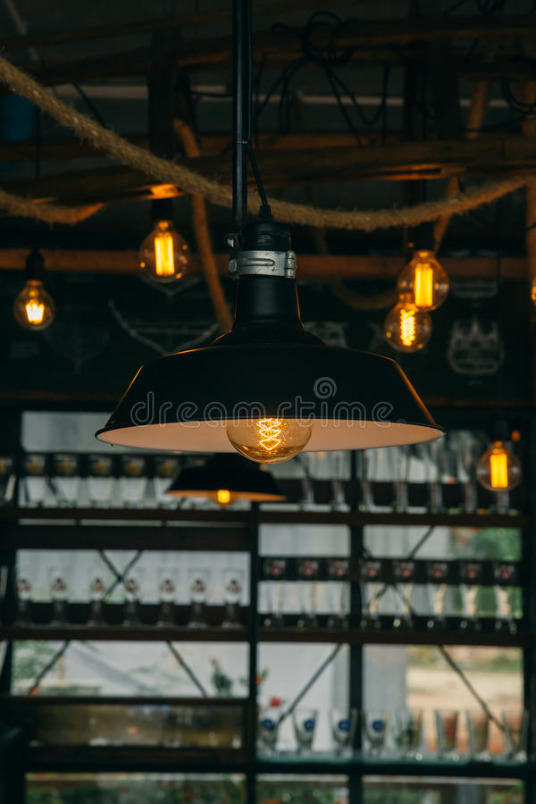 Industrial light cafe decoration. Interior lighting vintage retro style with space for text royalty free stock photo