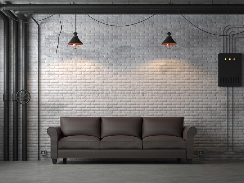 Industrial loft style living room 3d render. There are white brick wall,polished concrete floor.Furnished with dark brown leather sofa ,The rooms are decorated stock illustration
