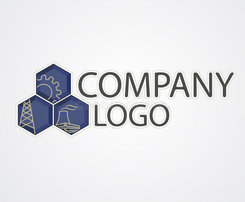 Industrial logo. Vector industrial logo with plant signs royalty free illustration