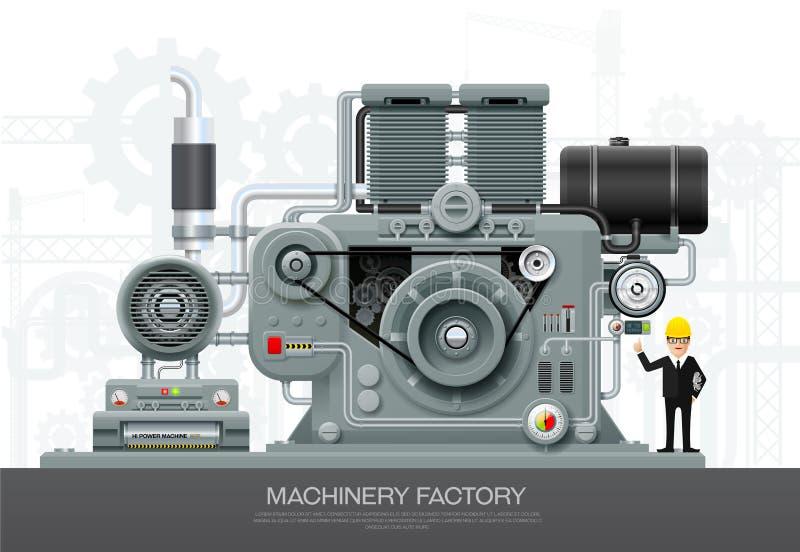 Industrial machine Factory construction equipment engineering vector illustration. Industrial abstract machine in flat style. Factory construction equipment vector illustration