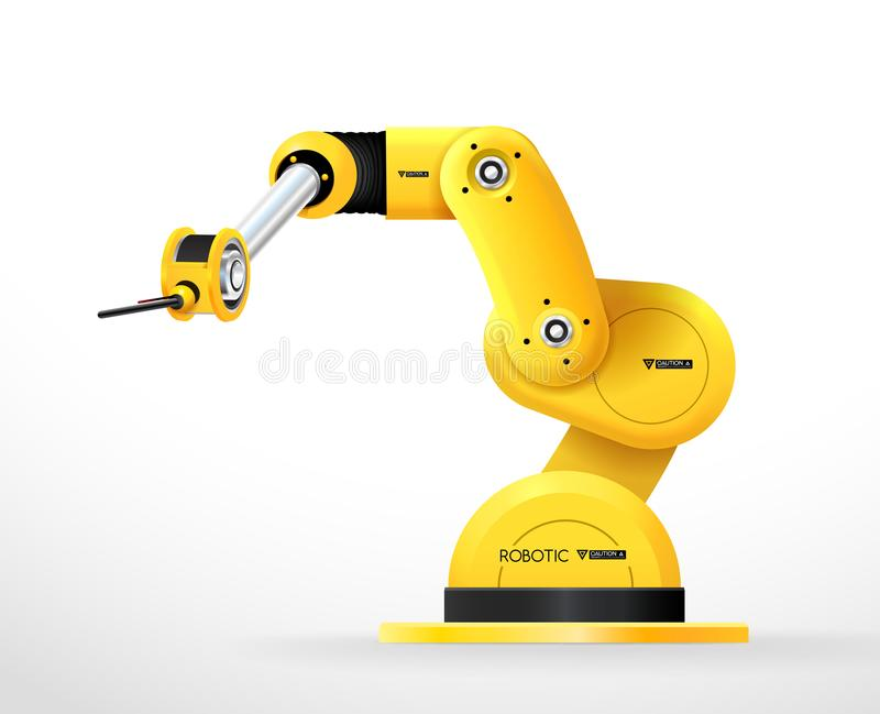Industrial machine robotic hand arm machinery factory vector illustration
