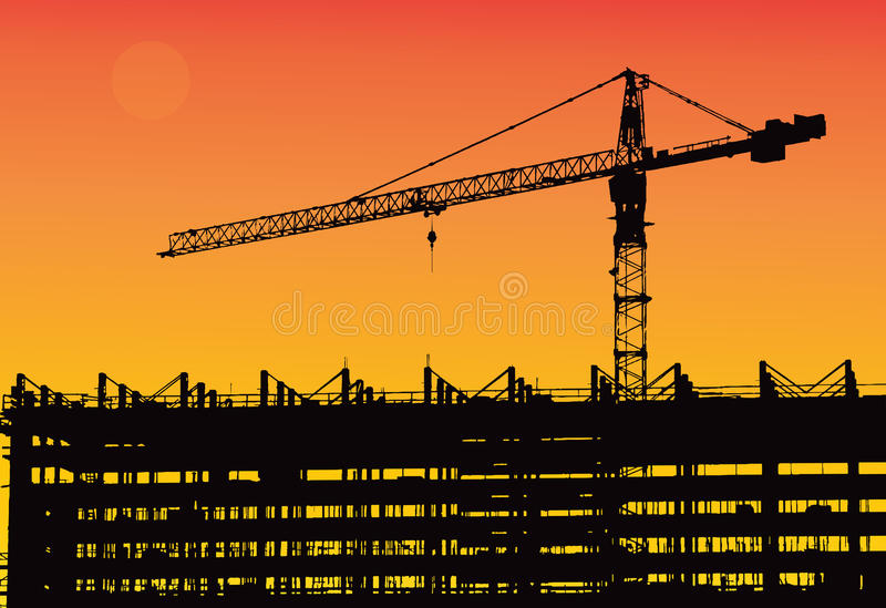 Industrial machinery and the construction crane. Cranes and skyscraper under construction, city skyline sunset, sunrise Buildin. Industrial machinery and the royalty free illustration