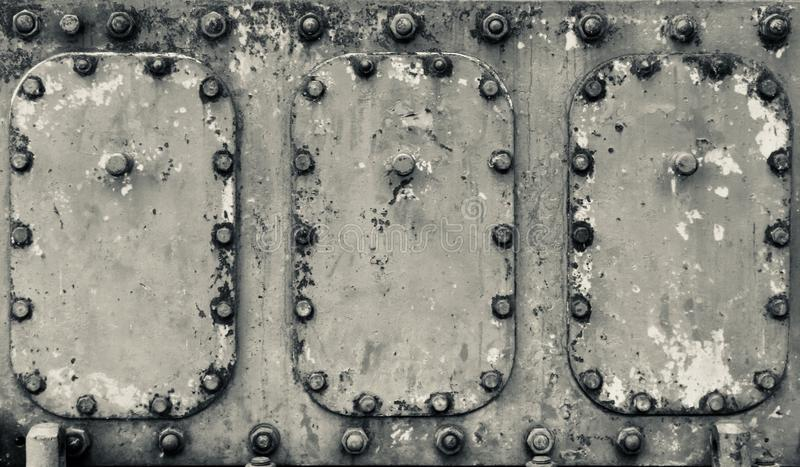 Industrial machinery painted metal surface with heavy patina royalty free stock images