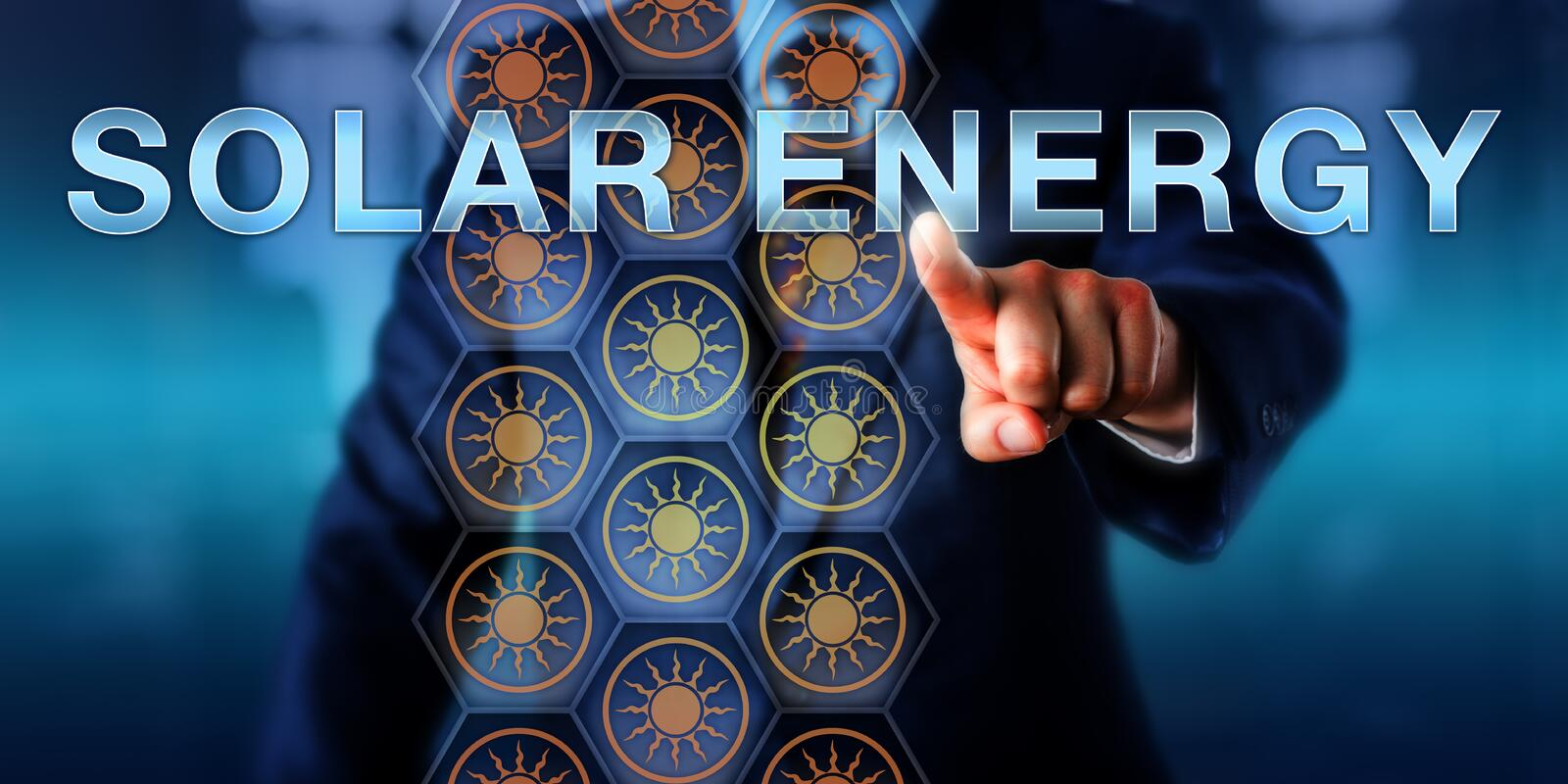 Industrial Manager Pressing SOLAR ENERGY stock photos