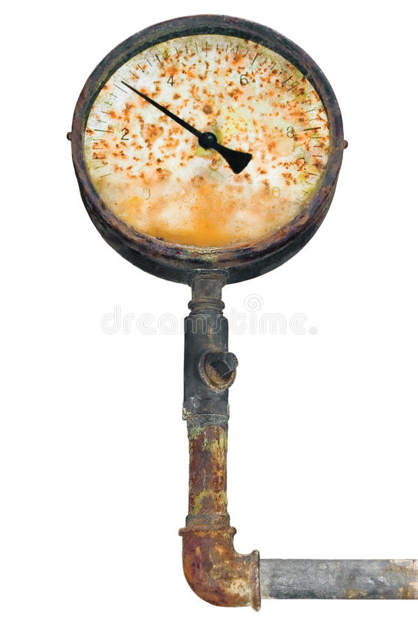 Industrial manometer, isolated pressure gauge, ruined rust meter stock photography