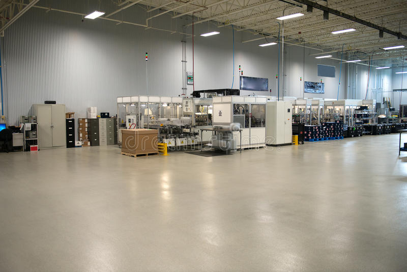 Industrial Manufacturing Factory Shop Floor. Shop floor in an industrial manufacturing facility. Parts for the industry business are stored here in the warehouse royalty free stock photography