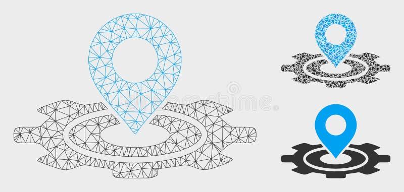 Industrial Map Marker Vector Mesh 2D Model and Triangle Mosaic Icon. Mesh industrial map marker model with triangle mosaic icon. Wire carcass polygonal mesh of stock illustration