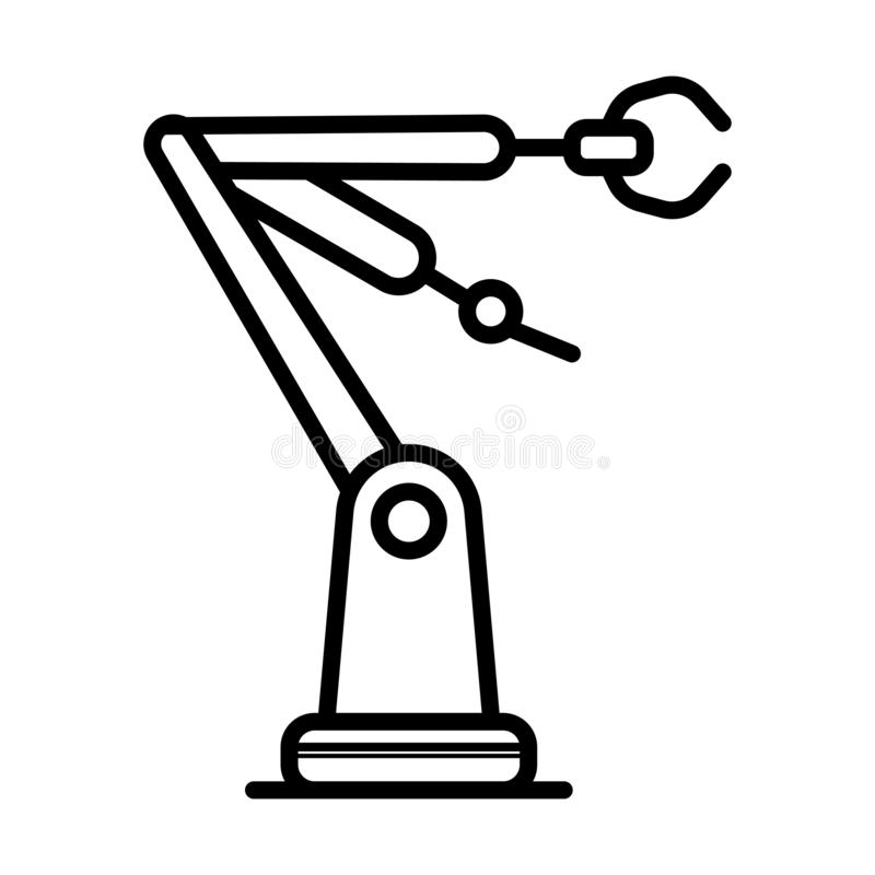 Industrial mechanical robot arm stock illustration
