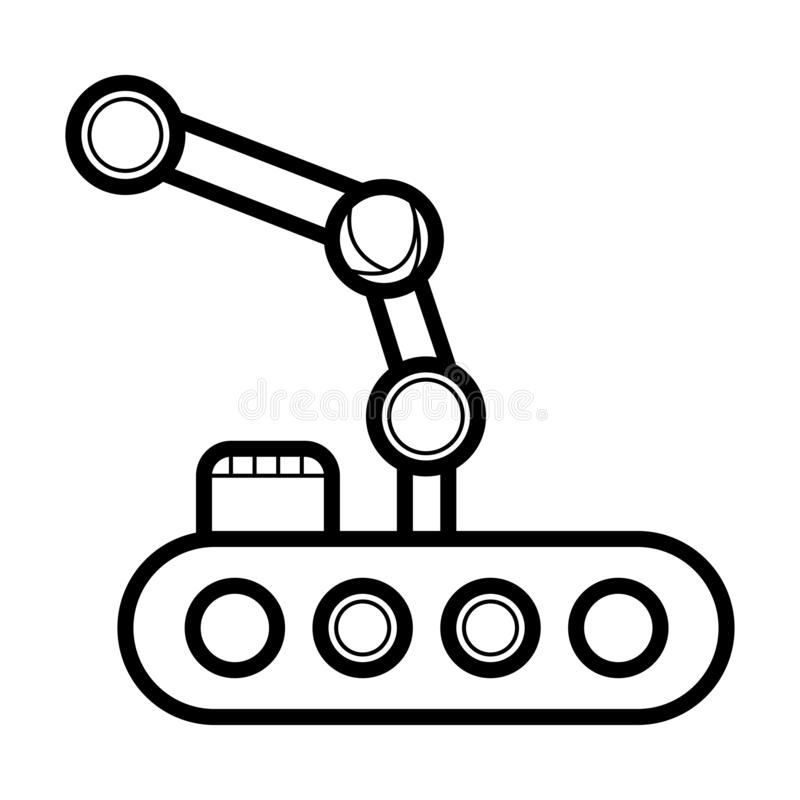 Industrial mechanical robot arm vector icon stock illustration