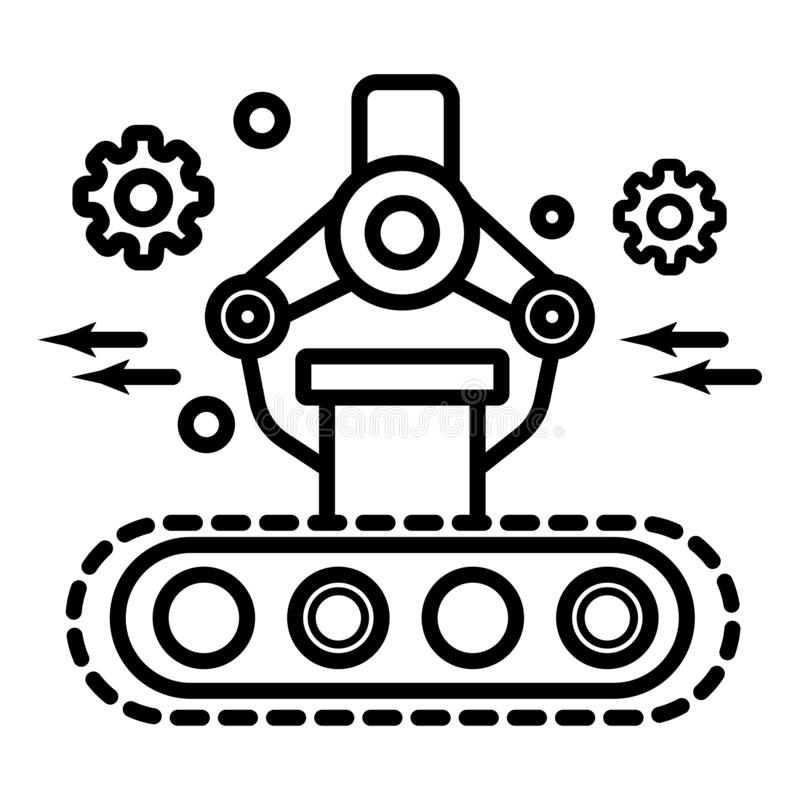 Industrial mechanical robot arm vector icon royalty free illustration