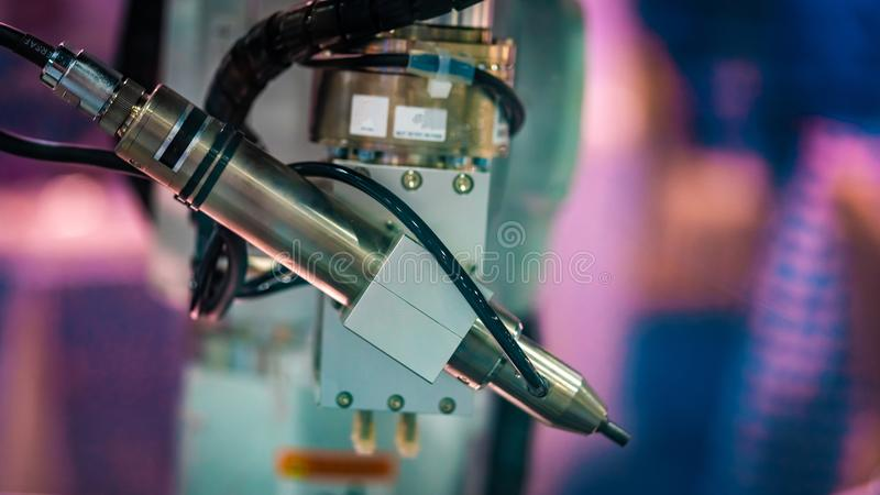 Industrial Mechanical Robot Manufacturing Line royalty free stock image