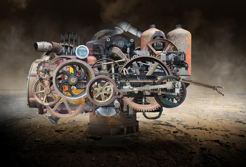 Industrial Mechanical Steampunk Machine, Technology stock photography
