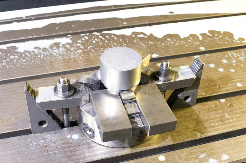 Industrial metal chuck die/mold. Metalworking and mechanical eng. Ineering. Lathe milling and drilling technology. CNC industry. Indoors horizontal image stock photo