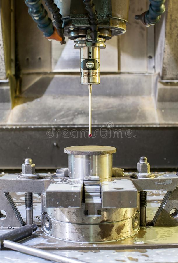 Industrial metal chuck die/mold sensoring. Metalworking and mechanical engineering. Lathe milling and drilling technology. CNC industry. Indoors vertical image stock photo