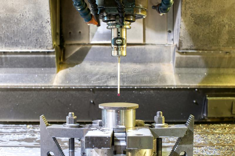 Industrial metal chuck die/mold sensoring. Metalworking and mechanical engineering. Lathe milling and drilling technology. CNC industry. Indoors horizontal stock image