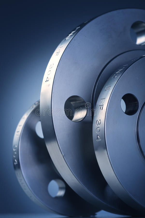Industrial metal flanges stock photos