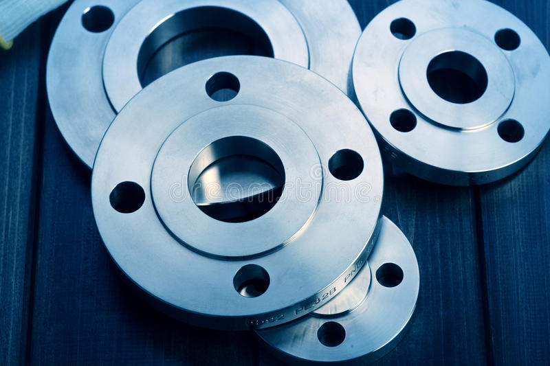 Industrial metal flanges royalty free stock image