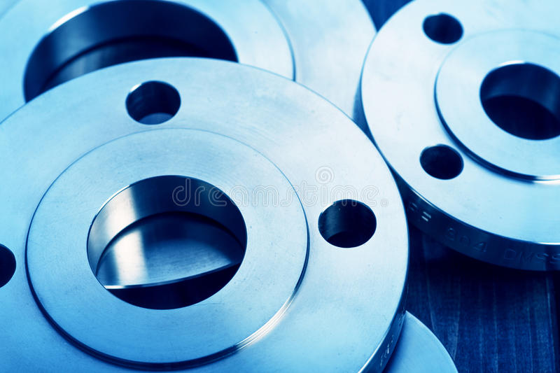 Industrial metal flanges stock images