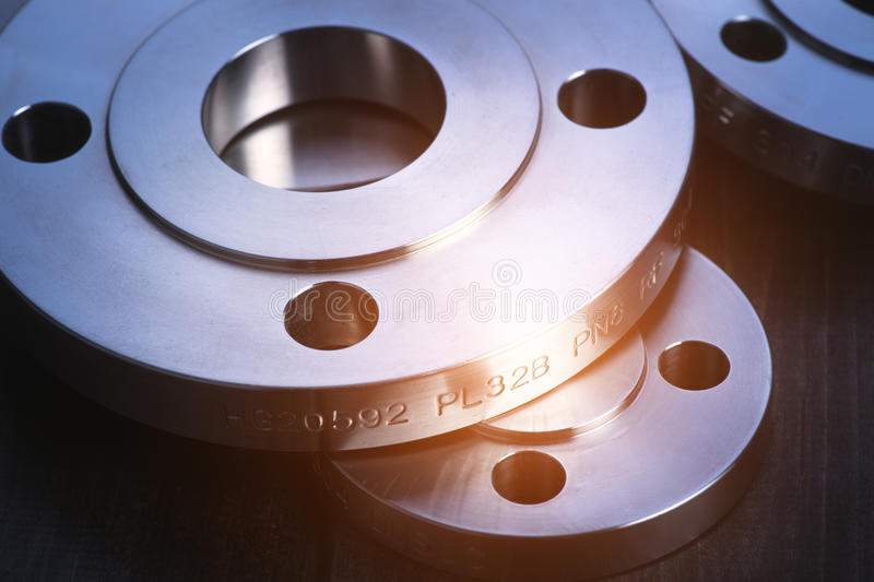 Industrial metal flanges royalty free stock photography