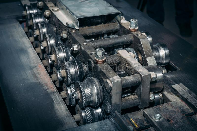 Industrial metal machining equipment tool at metalworking manufacturing factory, industrial background. Toned royalty free stock photos