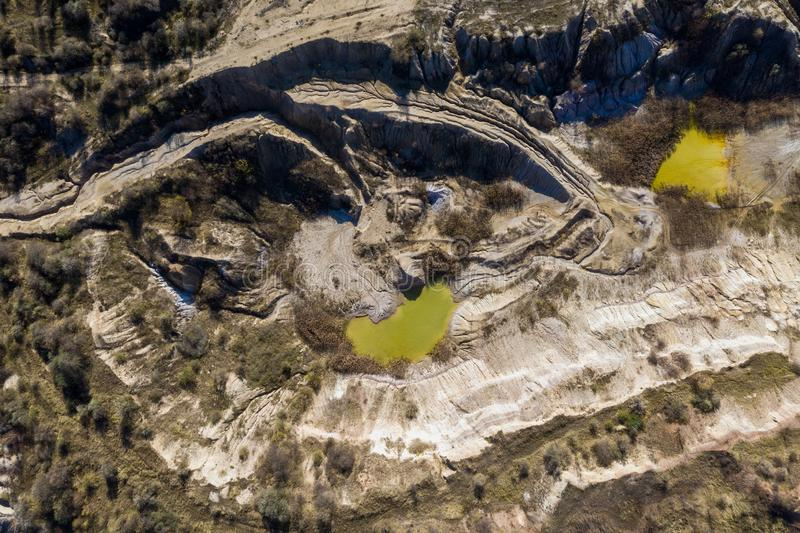 Industrial mining landscape from a drone, aerials royalty free stock photo