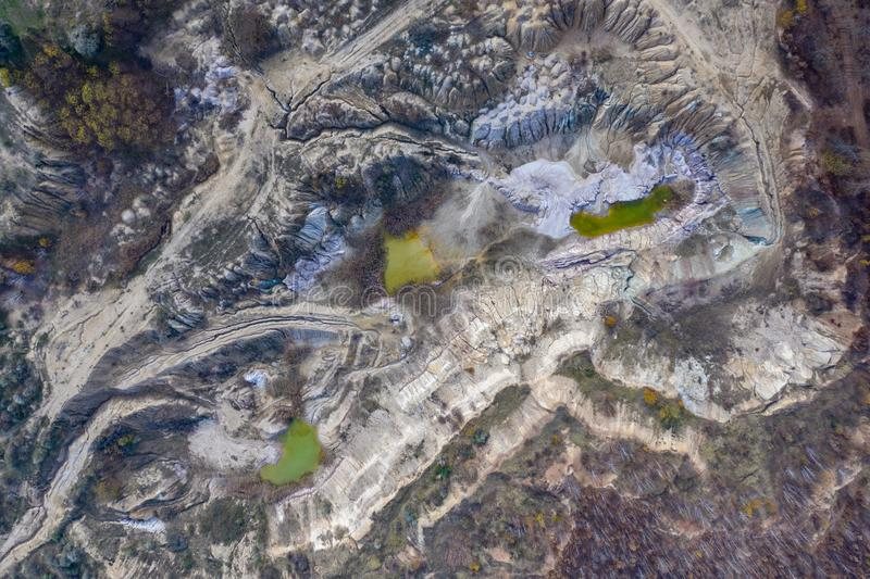Industrial mining landscape from a drone, aerials stock images