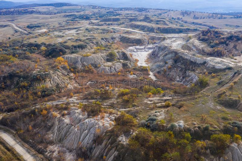 Industrial mining landscape from a drone, aerials stock photos
