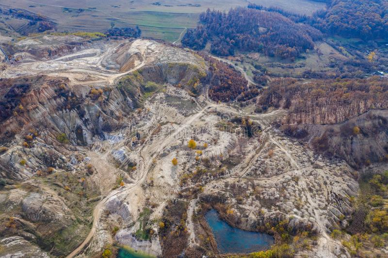 Industrial mining landscape from a drone, aerials stock image