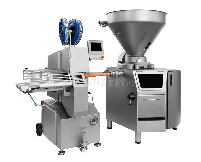 Industrial mixer in food industry, production line in food factory line conveyor machine solated on white background.  stock photography