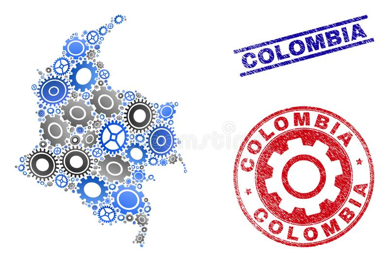 Industrial Mosaic Vector Colombia Map and Grunge Seals vector illustration