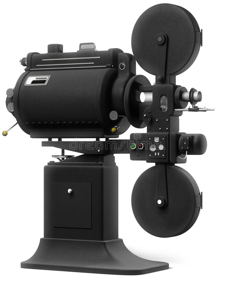Industrial Movie Projector on White. Vintage industrial movie projector on a white background royalty free illustration