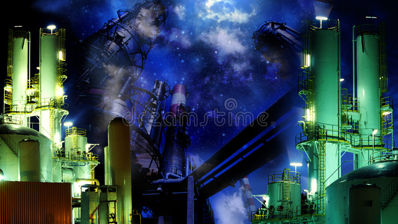 Download Industrial night stock illustration. Image of petrochemical - 5705716