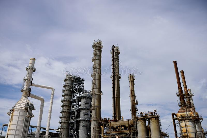 Industrial oil and gas refinery smoke stacks, towers and pipes. In Corpus Christi, Texas,USA stock images